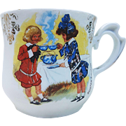 "German Vintage 1900's ""Buster Brown & Sister Mary Jane"" Scenic Shaving Mug"