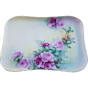 "Gorgeous Vintage 1900's Limoges France Hand Painted ""Red & Pink Roses"" 11-1/4"" Floral Dresser Tray"