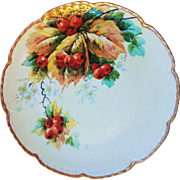 "Beautiful Vintage E.W. Donath Studio of Chicago 1906 Hand Painted Vibrant ""Red Currant"" 9-3/8"" Fruit Plate by Listed Artist, ""Wenzel Pfohl"""