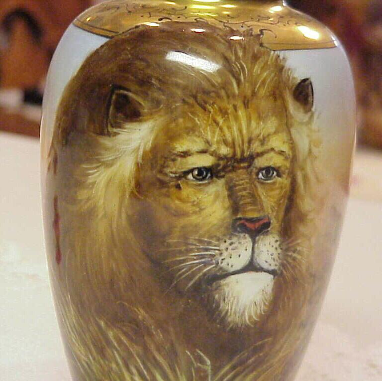 "RARE HP 1900 ""Lion"" Portrait  7"" Vase by J.H. Stouffer Co. ""Wenzel Pfohl"""
