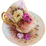 "Beautiful Limoges France Vintage 1900's Hand Painted ""Red, Pink, & Yellow Roses"" Floral Cup & Saucer by Artist, ""A.E.P."""