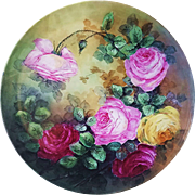 "50% OFF Fabulous Vintage 16"" T & V Limoges France Hand Painted Vibrant ""Red, Pink, & Yellow Roses"" Floral Plaque by the Artist, ""E.H."""