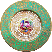 "Fabulous Royal Worcester 1900's Hand Painted ""Wild Flowers"" 9-3/8"" Raised Gilded Gold & Heavy Encrusted Floral Plate Made for Marshall Field of Chicago by Artist, ""S. Stanley"""