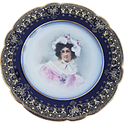 "Superb William Guerin Limoges France 1900's Hand Painted ""Portrait of A Lady In Feather Hat"" 8-3/8"" Plate, Artist Signed"