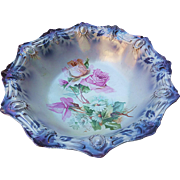 """Gorgeous RS Prussia Vintage 1900 """"Pink Roses & Daisies"""" 10-5/8"""" Ribbon & Jewel Mold Lavender Decor Floral Bowl"""