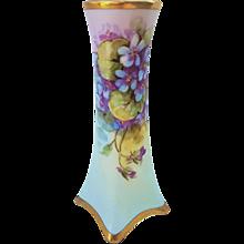 "Fabulous Heinrich & Co. Selb Bavaria Vintage 1900's Hand Painted Vibrant ""Violets"" Floral Vase by Highly Regarded Artist, ""Josef Henke"""