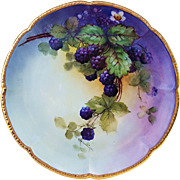 "Outstanding William Guerin Limoges France 1900's Hand Painted ""Blackberry"" 9-1/8"" Scallop Plate by Artist, ""E. Heimerdinger"""