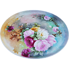 """Exceptional T & V Limoges France 1900's Hand Painted """"Red, Pink, Yellow, & White Roses"""" 13-1/2"""" Floral Tray"""