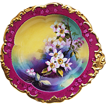 """Spectacular T & V Limoges France 1915 Hand Painted """"Pink Wild Flowers"""" 9-5/8"""" Rococo Style Floral Nappy by Pickard Artist, """"Max Read Klipphahn"""