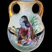 "Beautiful Royal Rudolstadt Vintage 1916 Hand Painted ""Sparrows & Flowers"" 7-3/8"" Scenic Vase by Artist, ""Myrtle"""