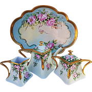 "Exquisite Favorite Bavaria Vintage 1900's Hand Painted ""Pink Roses"" 6 Pc Floral Tea Set & Tray by Artist, ""A. Durschmill"""