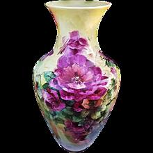 """Majestic 21-1/2"""" Lenox Belleek Vintage 1900's Hand Painted """"Red Roses"""" Floral Floor Vase"""