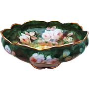 "Gorgeous Syracuse China Vintage 1907 Hand Painted ""White Roses"" Pedestal Floral Fruit Bowl by Pickard Artist ""Erhardt Seidel"""