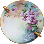 "Simply Gorgeous Vintage T & V Limoges France 1900's Hand Painted ""Pink-Lavender Pansy"" 9-3/8"" Double Handle Floral Nappy"