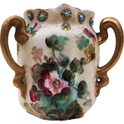 "Beautiful Vintage Bavaria 1900's Hand Painted ""Red & Pink Pansy"" 2-1/2"" Floral & Blue Beaded 3-Handle Toothpick Holder"