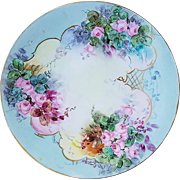 "Wonderful Vintage Jean Pouyat Limoges France 1903 Hand Painted ""Petite Pink Roses"" 9-1/4"" Floral Plate by Artist, ""Treadgata"""