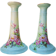 "Beautiful PL Limoges France Vintage 1900's Hand Painted ""Pink Roses"" 7"" Floral Candlestick Holders"