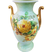 "Attractive Thomas Bavaria 1900's hand Painted ""Yellow Roses"" Floral Vase"