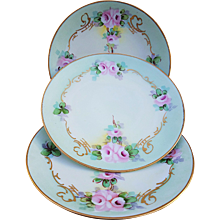 """Attractive Thomas Bavaria 1900's Hand Painted """"Petite Pink Roses"""" Set of 3 Floral Plates"""