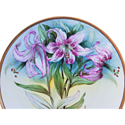 "Professionally Decorated Thomas Bavaria Vintage 1900's Hand Painted ""Lavender Lilies"" 10-3/4"" Floral Plate"