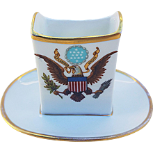 """Scarce Vintage Limoges France 1900's White House Presidential China 3"""" Match Holder from the Washington DC National Remembrance Shop"""
