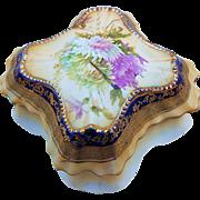 "Gorgeous RS Prussia Vintage 1900 ""Lavender, Yellow, & White Mums"" Cobalt Blue Dresser Box"