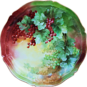 """Fabulously Decorated Theodore Haviland Limoges France 1900 Hand Painted """"Red Currant"""" 8-1/2"""" Scallop Plate by the Artist, """"M. Hearnsnan"""""""