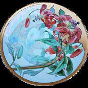 "Gorgeous Thomas Bavaria 1900's Hand Painted ""Burnt Orange Tulips"" 10-3/4"" Floral Plate"