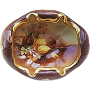 "Exquisite MZ Austria 1900's Hand Painted ""Mixed Nuts"" 8-1/2"" Footed Nut Bowl by Pickard Artist, ""Howard Reury"""