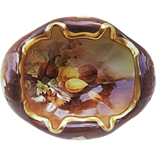 """Exquisite MZ Austria 1900's Hand Painted """"Mixed Nuts"""" 8-1/2"""" Footed Nut Bowl by Pickard Artist, """"Howard Reury"""""""