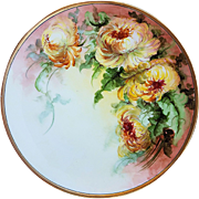 "Beautiful Thomas Bavaria 1900's Hand Painted ""Deep Yellow Mums"" 10-3/4"" Floral Plate"