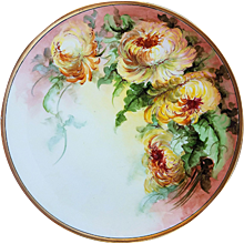 """Beautiful Thomas Bavaria 1900's Hand Painted """"Deep Yellow Mums"""" 10-3/4"""" Floral Plate"""