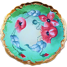 """Attractive Coronet Limoges France 1900's Hand Painted """"Burnt Orange Poppy"""" Floral Plate by the Artist, """"Barbot"""""""
