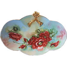 """Stunning William Guerin Limoges France 1900's Hand Painted """"Burnt Orange Poppy"""" 10-3/4"""" Floral Tray Artist Signed"""