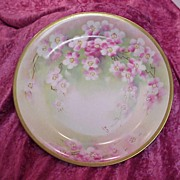 """Fabulous Old Abbey Limoges 1900's Hand Painted """"Cherry Blossoms"""" 12-1/8"""" Charger by the French Artist """"Barbot"""""""