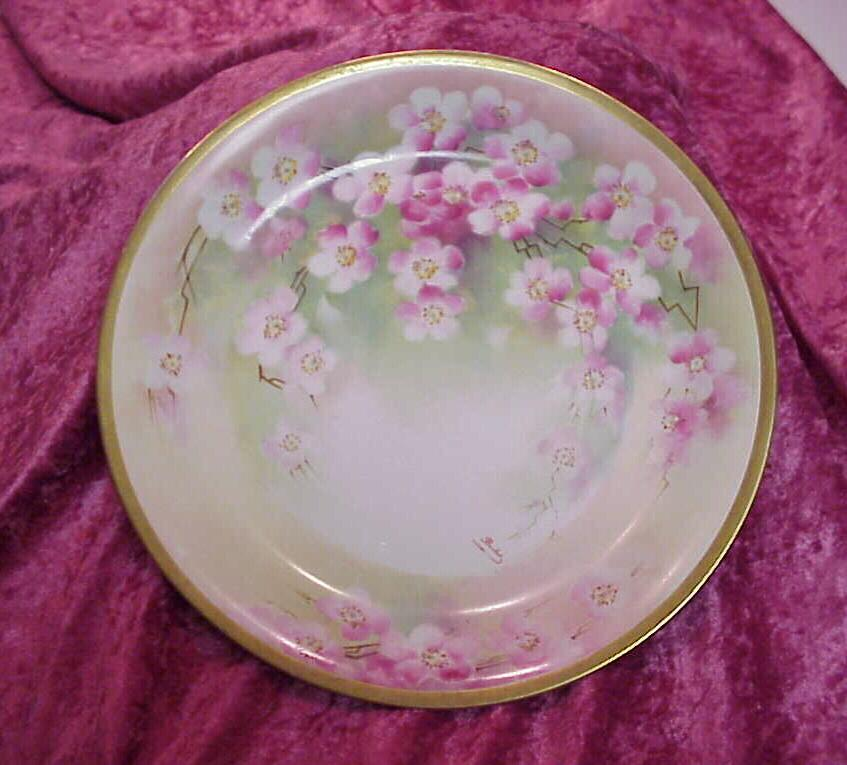 "Fabulous Old Abbey Limoges 1900's Hand Painted ""Cherry Blossoms"" 12-1/8"" Charger by the French Artist ""Barbot"""