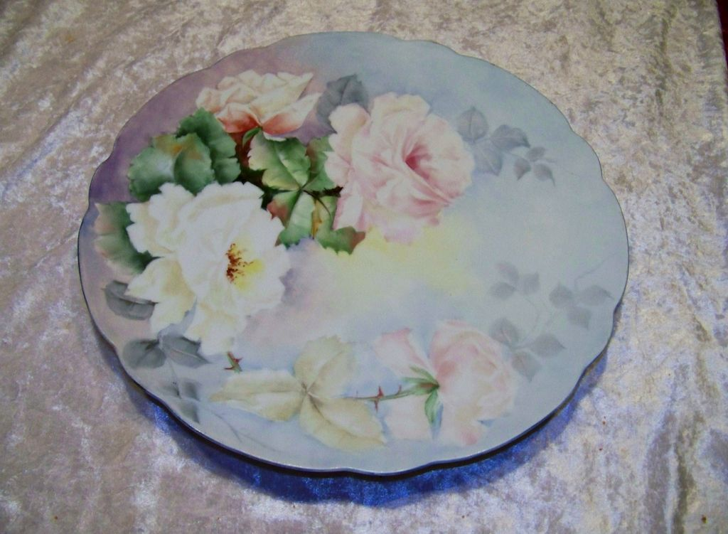 "Gorgeous Vintage Hand Painted Bavaria 1910 ""Pink & White Roses"" 12-3/8"" Charger by Artist ""May Morse"""