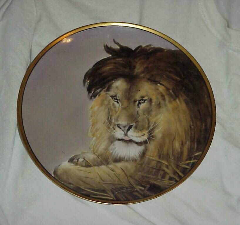 "RARE J & C Bavaria HP 1900 ""Lion"" Portrait 9-7/8"" Plate by Chicago Decorator OSBORNE"