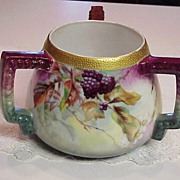 "Spectacular Limoges 1900's 3-Handled ""Blackberry"" 6-1/8"" Tall Jardiniere, Artist SIGNED"