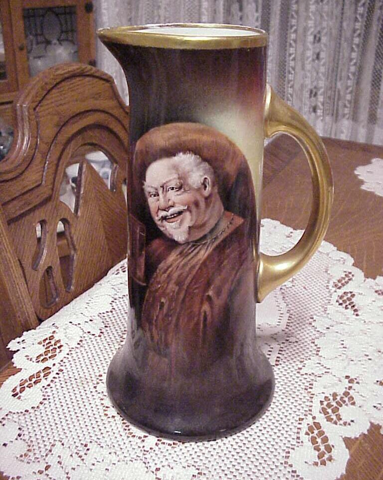 "Edward W. Donath Studio J.P.L.France Limoges Hand Painted ""Falstaff"" 11"" Tankard by Artist ""Adoph Heidrich"""