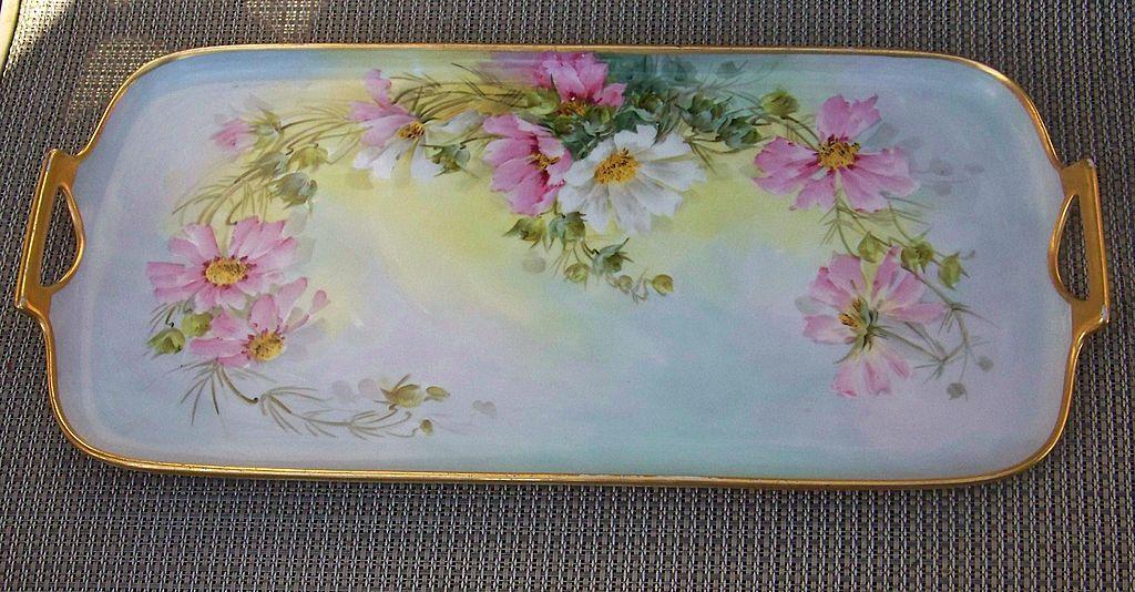 "Beautiful Vintage Czechoslovakia 1900 Hand Painted ""Wild Daisy"" 15-5/8"" Tray by the Artist ""Sherratt's"""