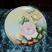 "Vintage 1900's D'Arcy's Studios on Haviland ""Pink & Yellow Roses"" 9-1/2"" Plate"