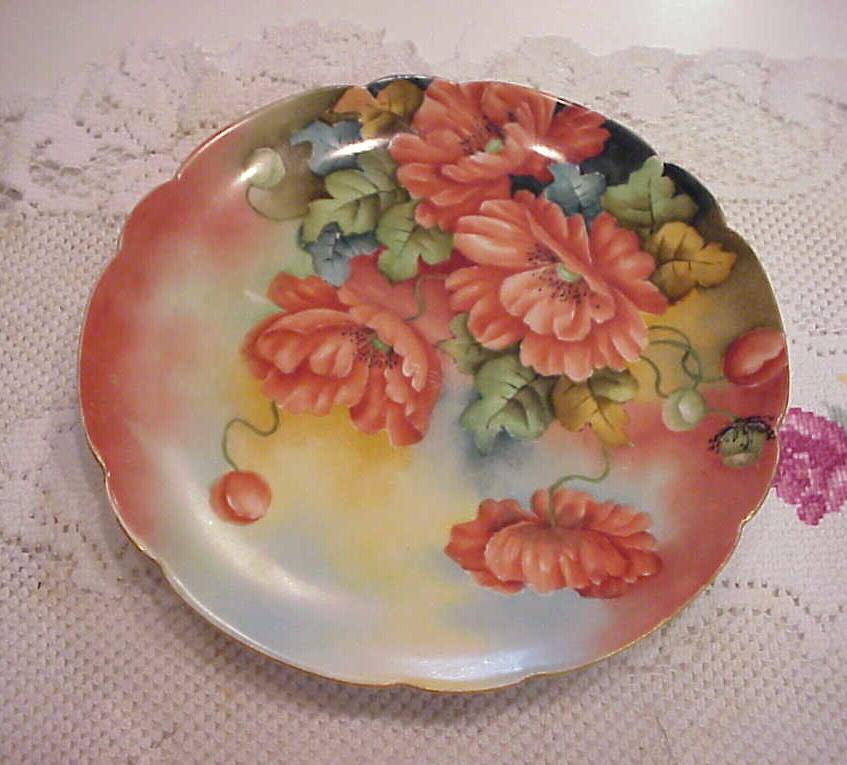 "Stunning Limoges 1900's Hand Painted ""Large Deep Burnt Orange Poppies"" 8-7/8"" Plate by Artist ""Goldie Fess"""