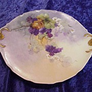 "Gorgeous Vintage 1900 D & C France Limoges Hand Painted ""Purple Grapes"" 10-3/4"" Plate by Artist, ""Amanda Behn"""