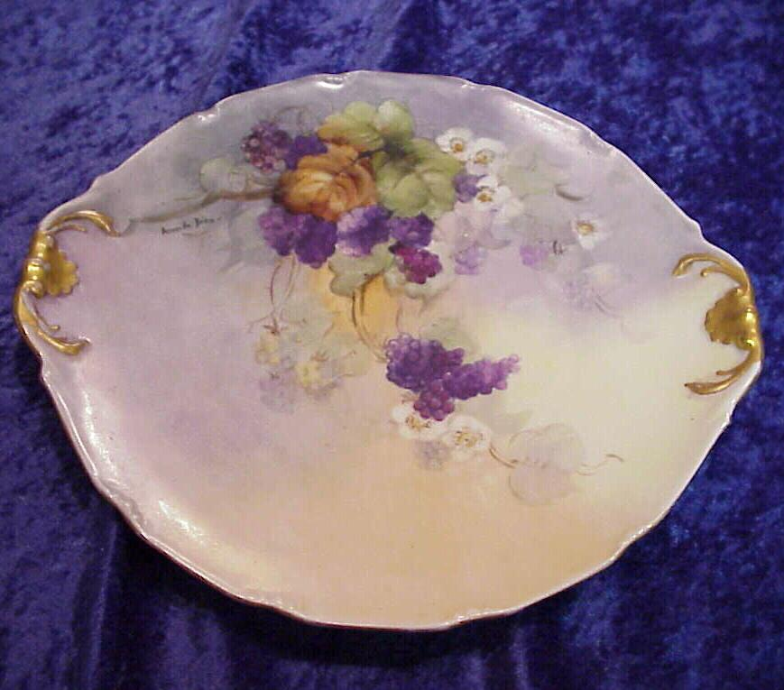 "Gorgeous Vintage 1900 D & C France Limoges Hand Painted ""Purple Grapes"" 10-3/4"" Plate by Artist, ""Amanda Behn"""