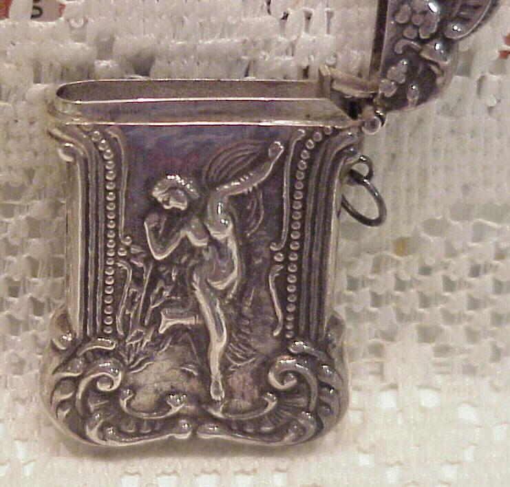 Vintage 1900 Sterling Silver Match Safe Vesta W/Full Figure Nude Nouveau Lady