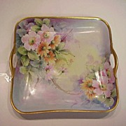 "Exquisite Bavaria Hand Painted 1920's ""Wild Roses & Daisies"" Open Handle Rectangular Tray - Red Tag Sale Item"