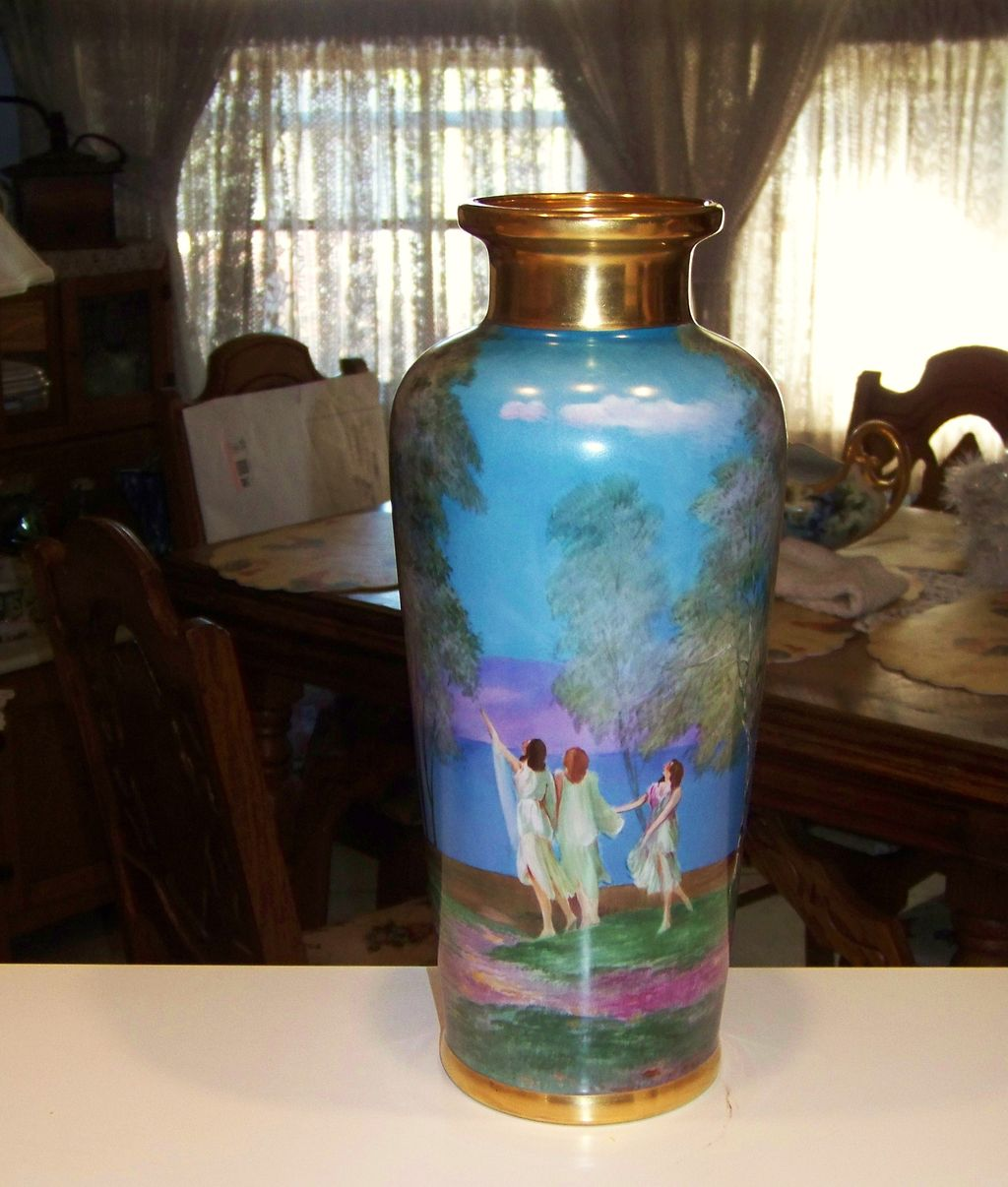 "Large 1900's Hand Painted ""Dancing Ladies"" 15"" Vase by Pickard Artist ""Arnold Rhodes"""