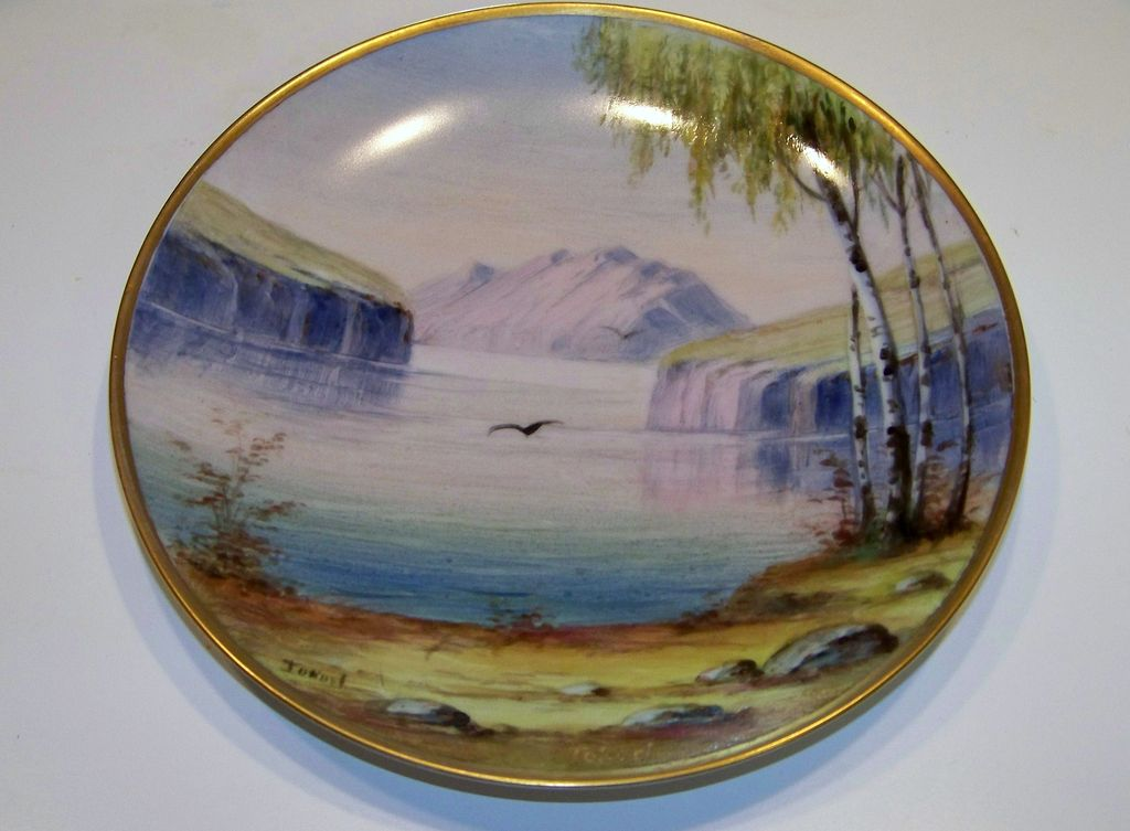"Vintage Hand Painted Scenic Lake & Mountain Scene 8-1/8"" Plate by ""Tokorl"""
