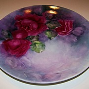 "Superb Colors Vintage 1900's Royal Austria Hand Painted ""Deep Red Roses"" 11-3/8"" Plate"